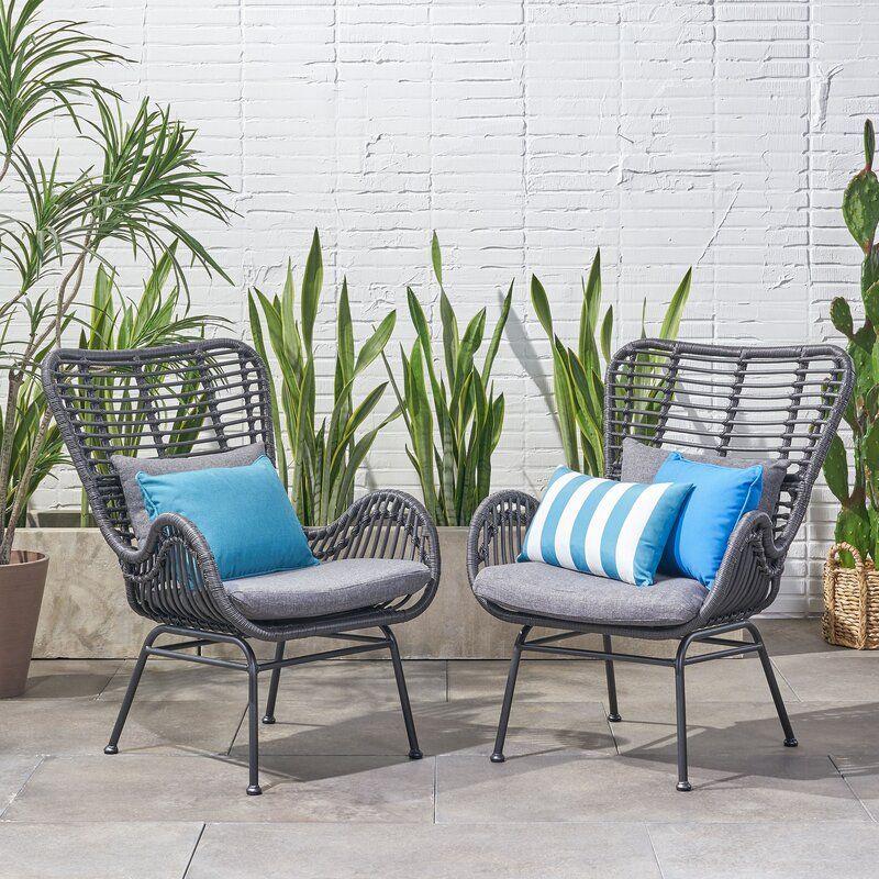 Tarnowski Wicker Patio Chair With Cushions In 2020 Wicker Patio Chairs Patio Furniture Deals Patio Furniture Cushions
