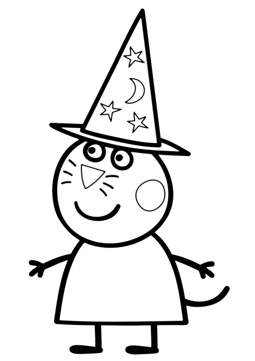 Candy Cat Sorceress High Quality Free Coloring From The Category Peppa Pig Mor Cartoon Coloring Pages Free Printable Coloring Pages Free Printable Coloring