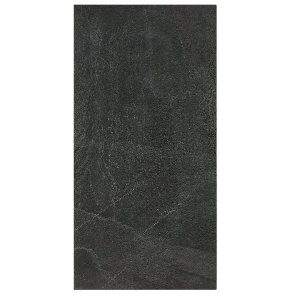 Carrelage Exterieur Effet Pierre 60x120 N Noir Boucharde Rectifie