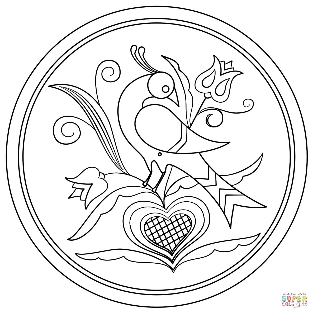 hex-sign-with-decorative-bird-coloring-page.png (1186×1186 ...