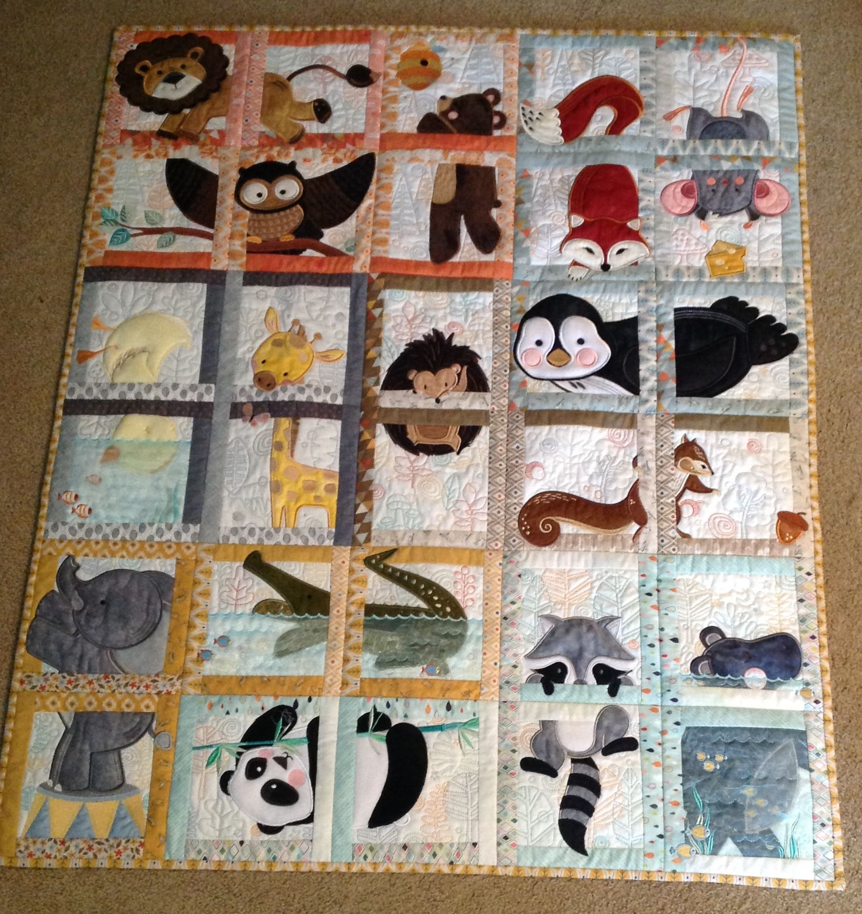 Animal Adventure Quilt I made for my new grandbaby due to arrive in fall 2015! Designs are by ...