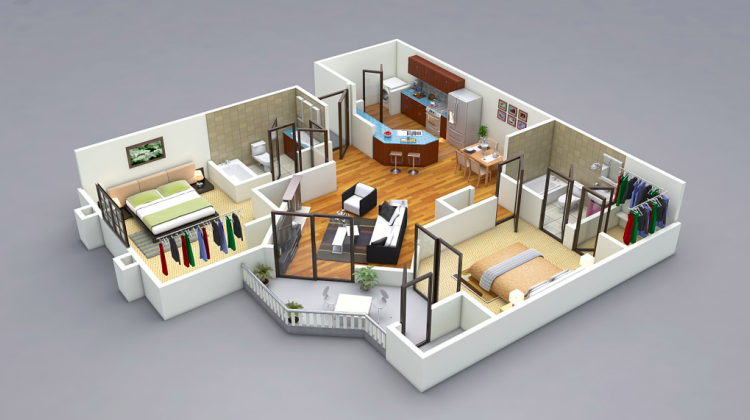 25 More 2 Bedroom 3d Floor Plans Amazing Architecture Magazine Living Room Planner Two Bedroom House 2 Bedroom House Plans