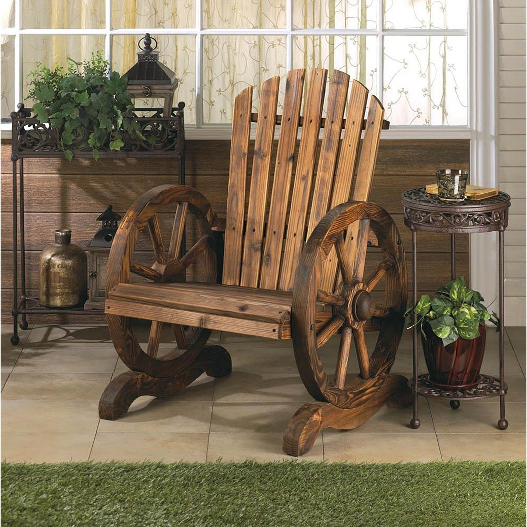 Olmstead Wooden Country Style Wagon Chair, Brown, Size Single, Patio Furniture