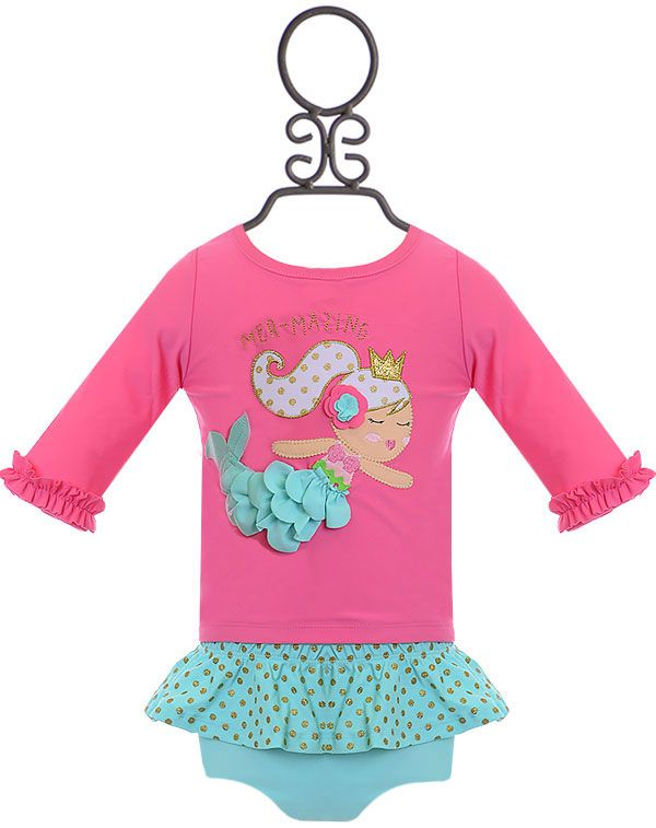 96450eaed9c Mud Pie Mermaid Rash Guard and Bikini Set | Ella Raelynn <3 | Rash guard, Bikini  set, Bikinis