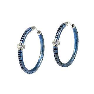 18176a291 'Soho Enamel Safari Sterling Silver, Blue Enamel & Diamond Tiger Hoop  Earrings' #blue #blueearrings #bluehoopearrings