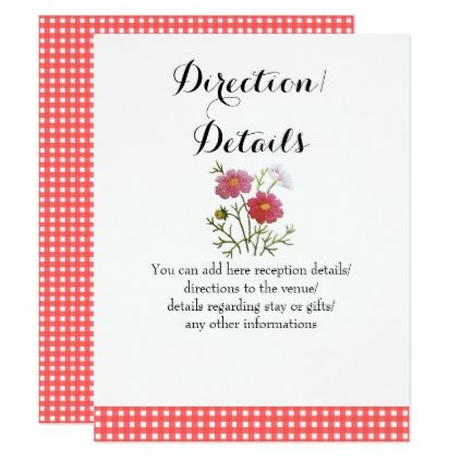 Vintage Flowers On Gingham Reception Information Card