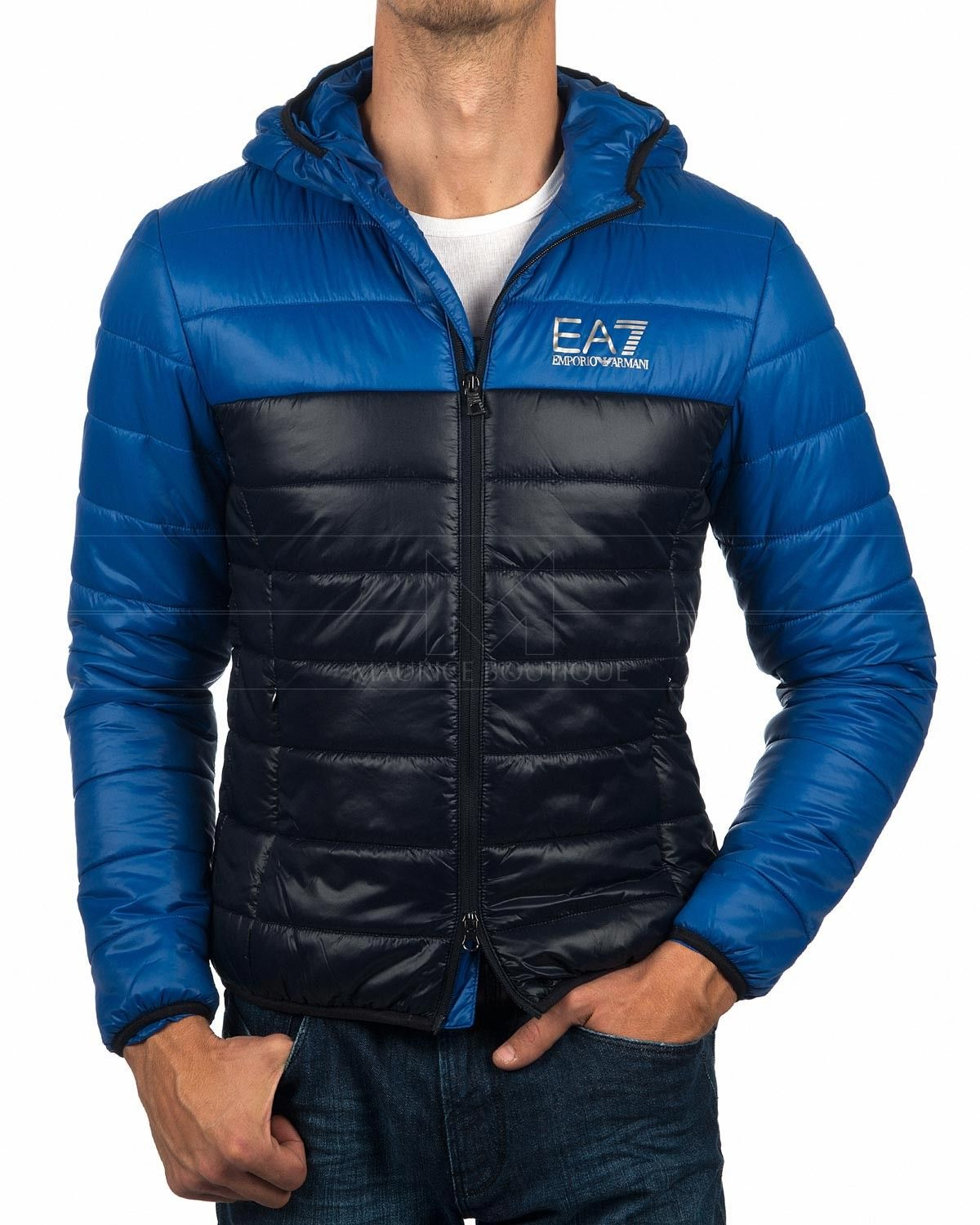 EA7 EMPORIO ARMANI © Jacket with Hoodie - Royal Blue   Navy 0688b138a0d