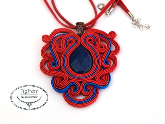 Soutache Pendant Pavot by RebarJewelry on Etsy