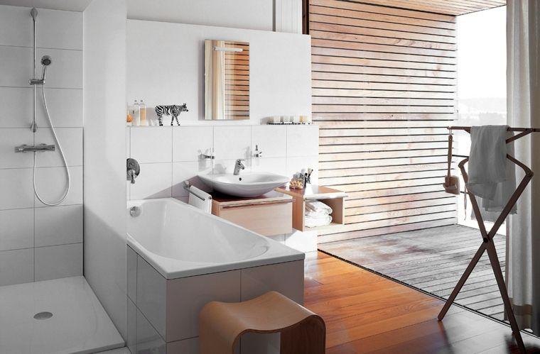 imagenes banos modernos ducha banera suelo madera ideas Interiores