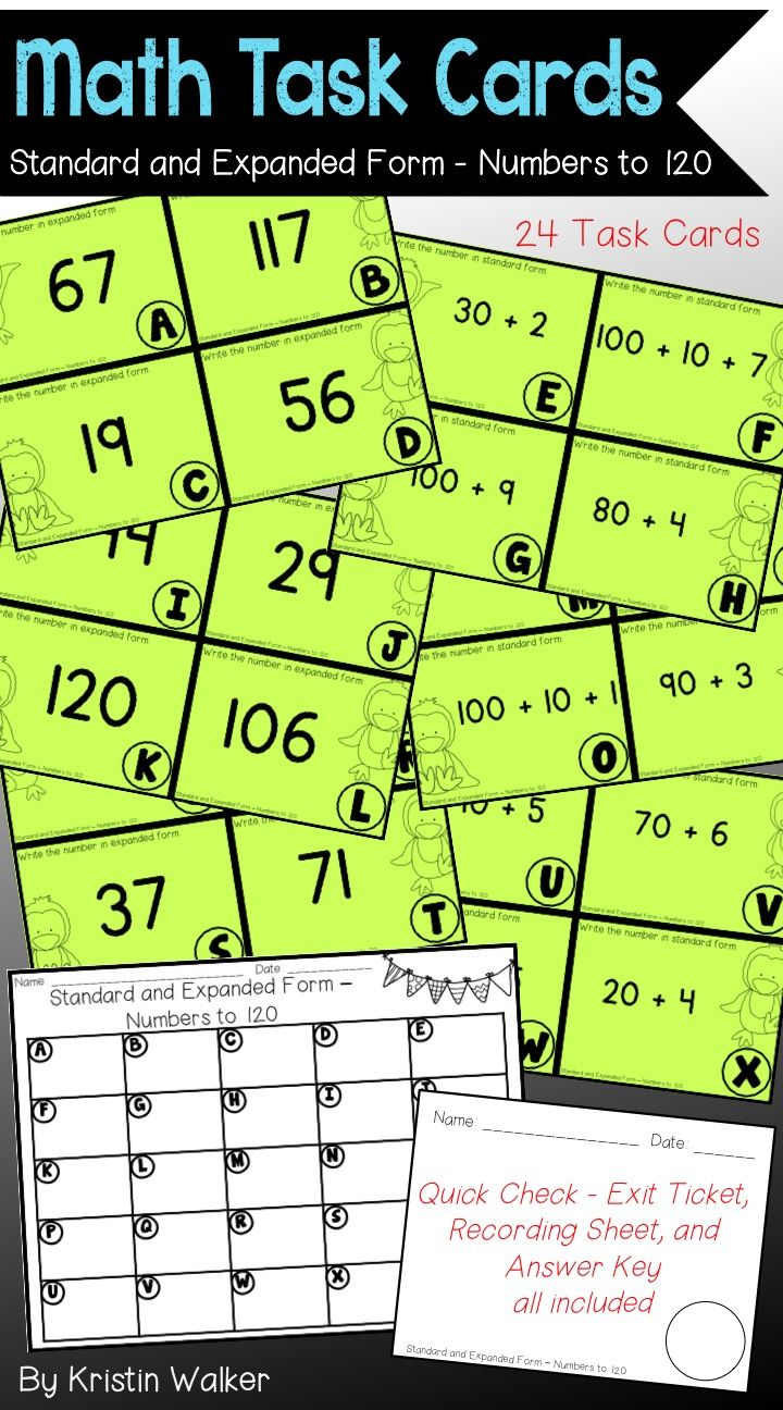 Math Task Cards Standard And Expanded Form Numbers To 120