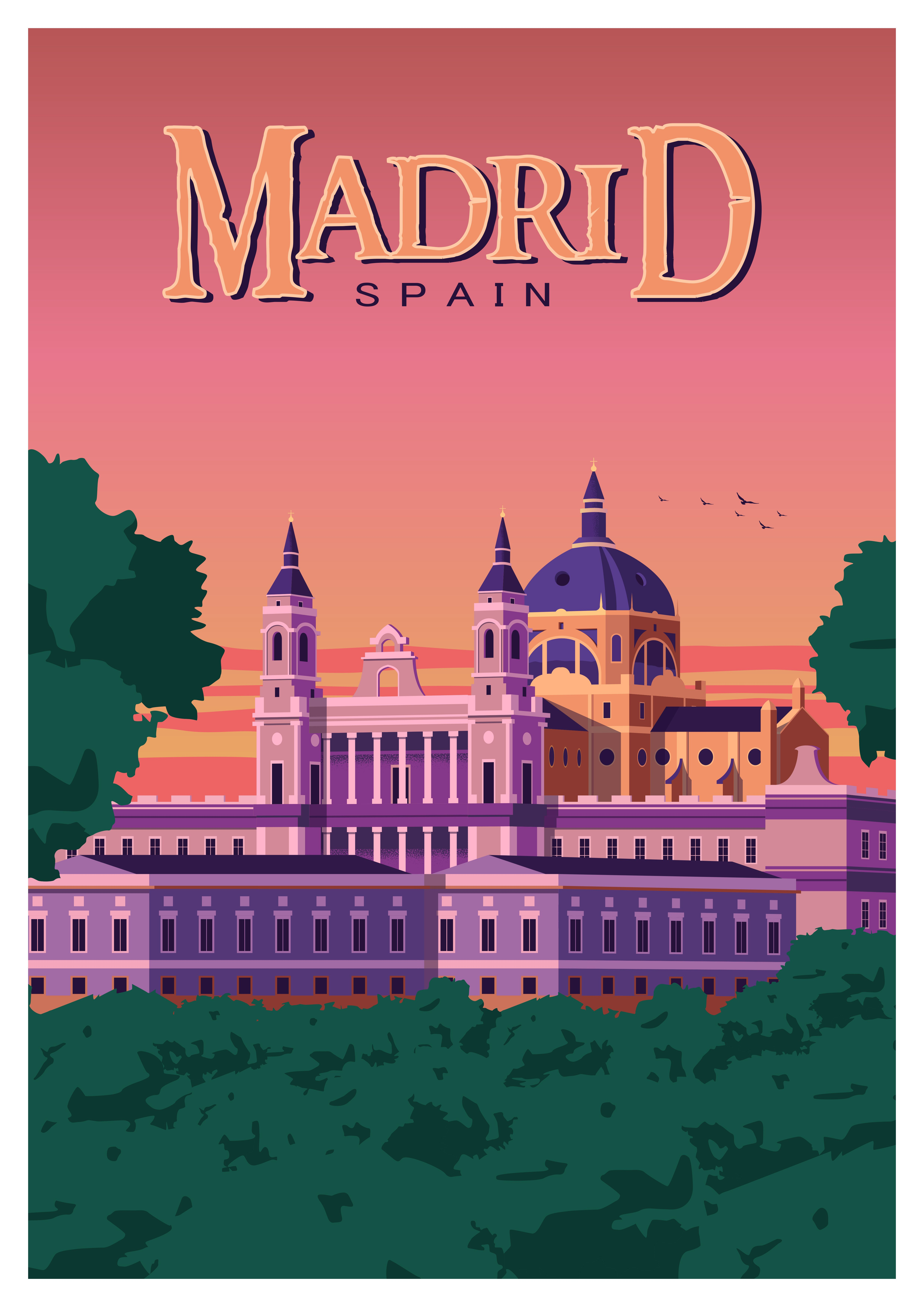 Madrid Vintage Travel Poster Retro Wall Art Print Spain Decor Retro Travel Poster Retro Poster Travel Posters