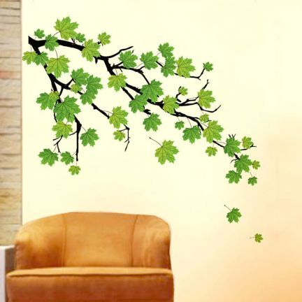 Decal Dzine Green Autumn Leaves Branch Wall StickerDécor - Wall decals online india
