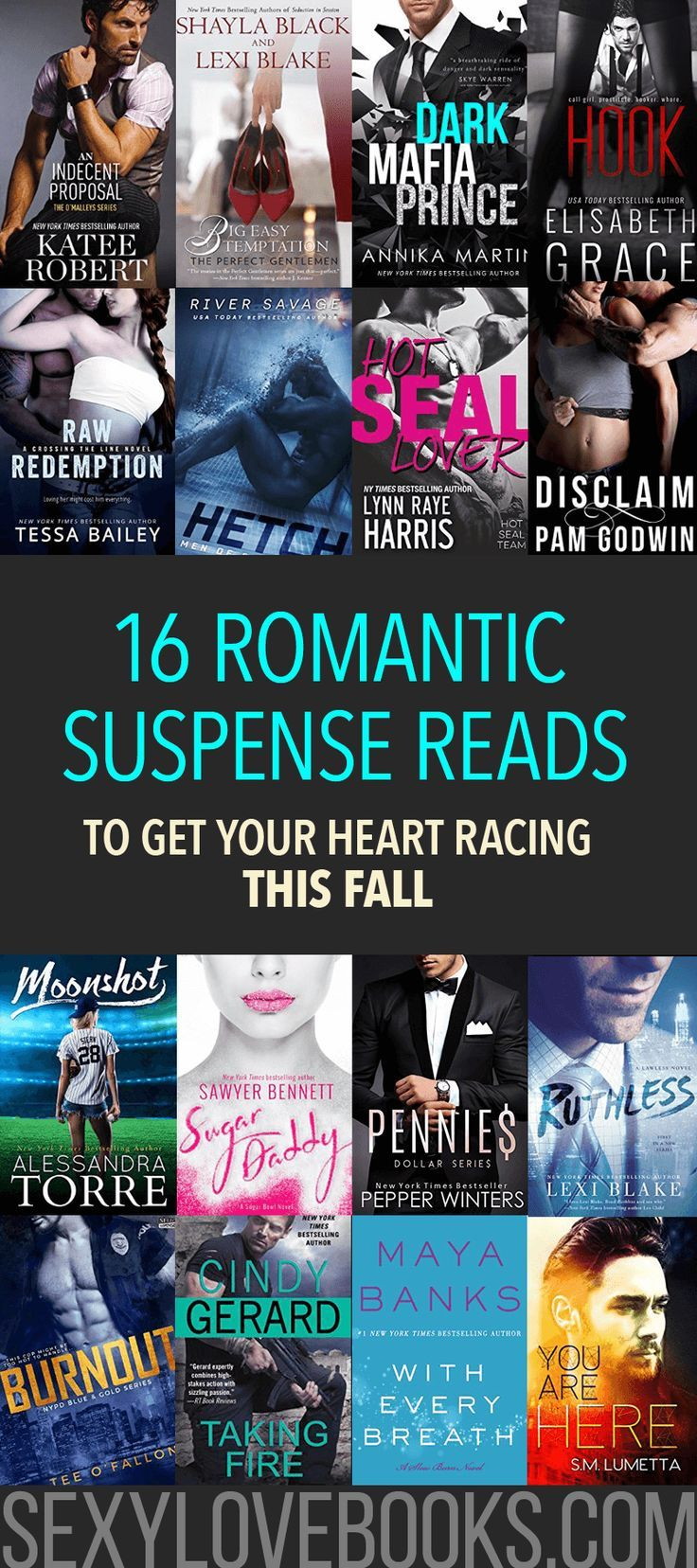 16 Romantic Suspense Reads to Get Your Heart Racing This Fall     Bad boys, big guns, hot sex and Happily Ever Afters ❤ Get more sexy reading ideas + tips at www.sexylovebooks.com