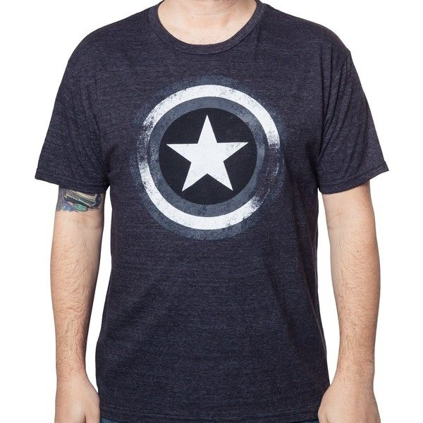 Gray Captain America Shield T-Shirt ($20) ❤ liked on Polyvore featuring tops, t-shirts, grey top, gray top, grey tee, grey t shirt and gray t shirt