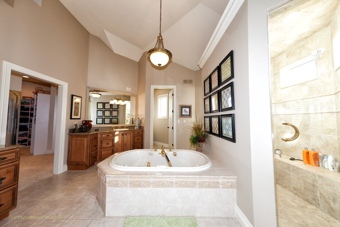 Master bath in the upscale bluff top subdivision Cedar Crest at Lake of the Ozarks.