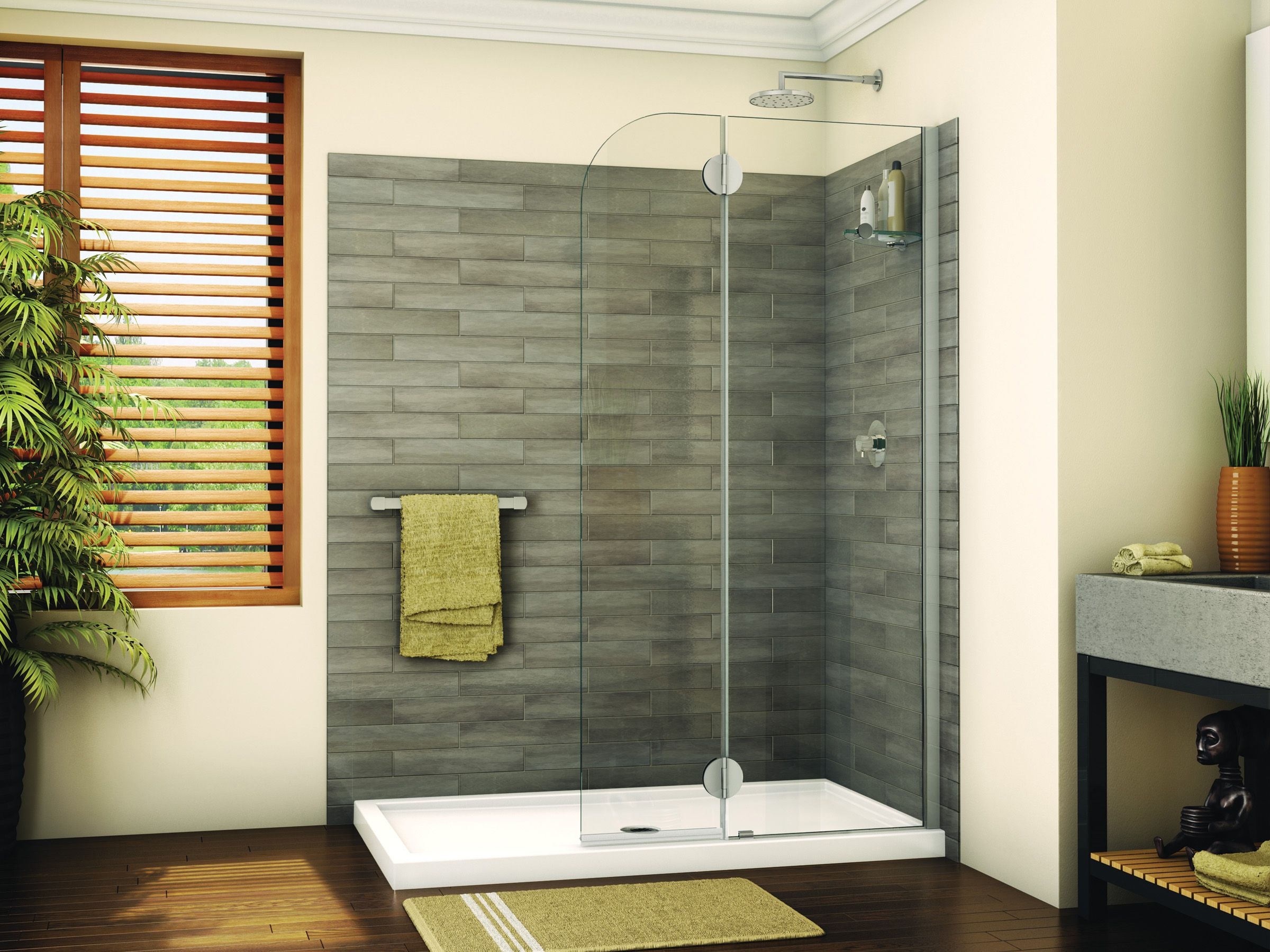 Modern round top shower shield with fixed panel by Fleurco ...