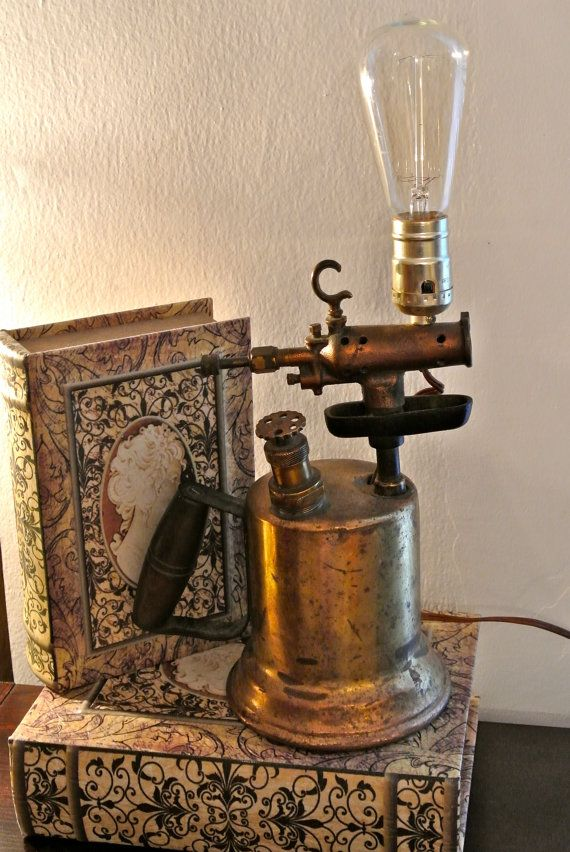Upcycled vintage blow torch lamp industrial lighting free shipping
