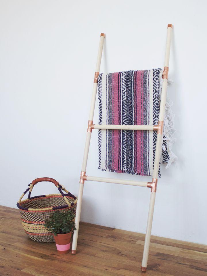DIY Wood + Copper Blanket Ladder