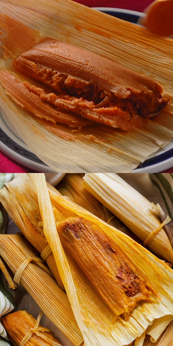 Vegan Red Chile Jackfruit Tamales, this vegetarian version of a classic Mexican tamale is tender, spicy, and delicious. The corn masa is gluten-free and spiced with ancho and guajillo chiles.