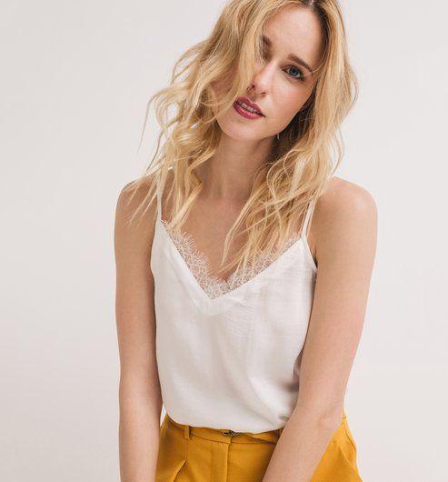 e3c75b8400 Selymes női kombiné top ekrü - Promod | ruhák | Tops, Lingerie és Women