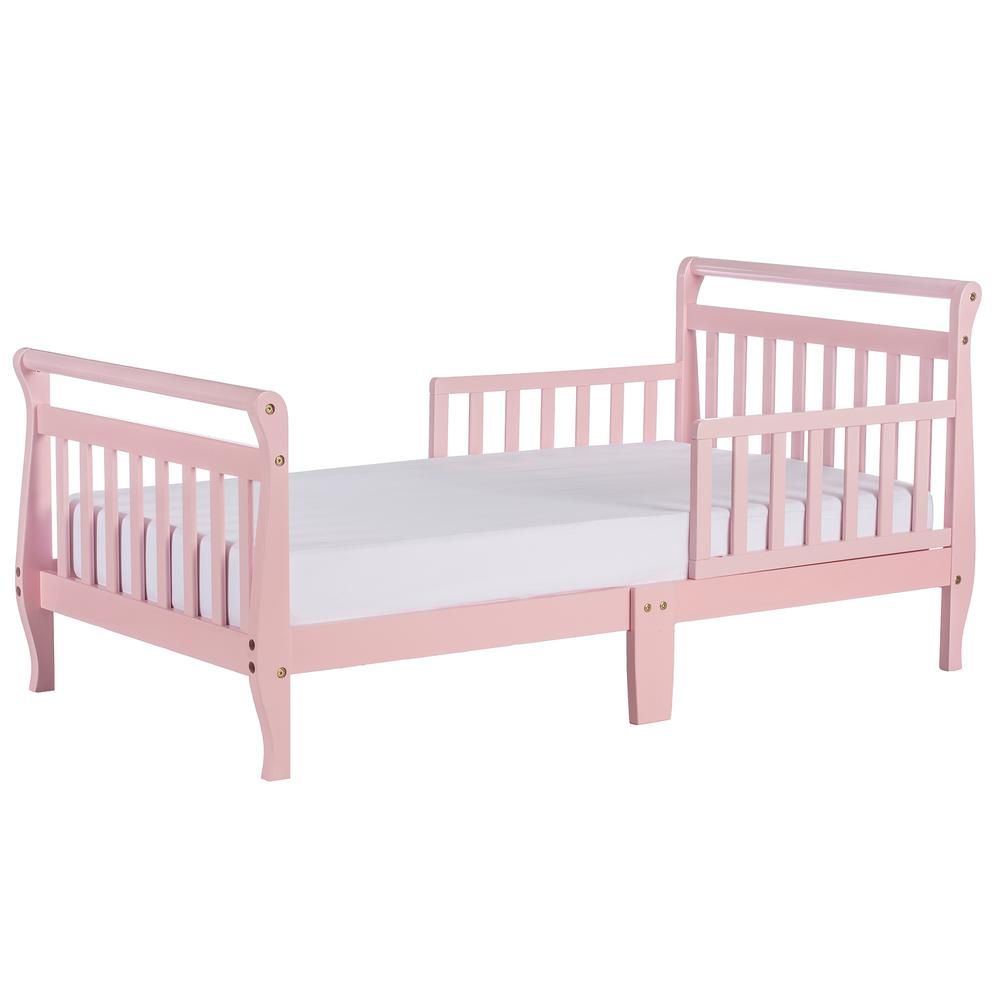 Dream On Me Pink Toddler Adjustable Sleigh Bed 642 P Toddler Bed Convertible Toddler Bed Toddler Travel Bed
