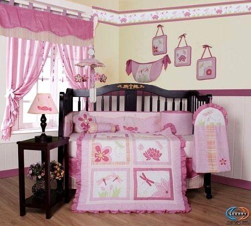 Boutique Brand New GEENNY Designer Girl DragonFly 13-Pcs Crib Bedding Set