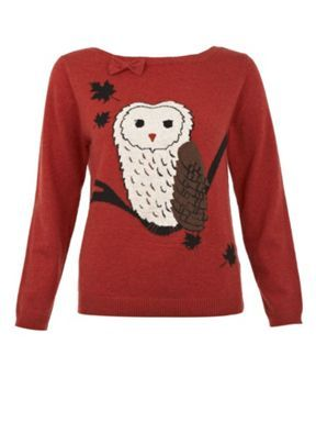 79a8d9d9881f Yumi Owl print jumper Red - House of Fraser | Animal Themed Clothing ...