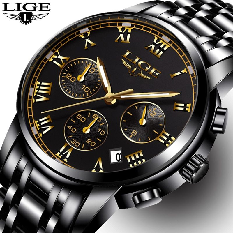 3e25d487934 Mens Watches Top Brand LIGE Luxury Fashion Business Quartz Watch Men Sports  Full Steel Waterproof Black Watches relogio masculin Review