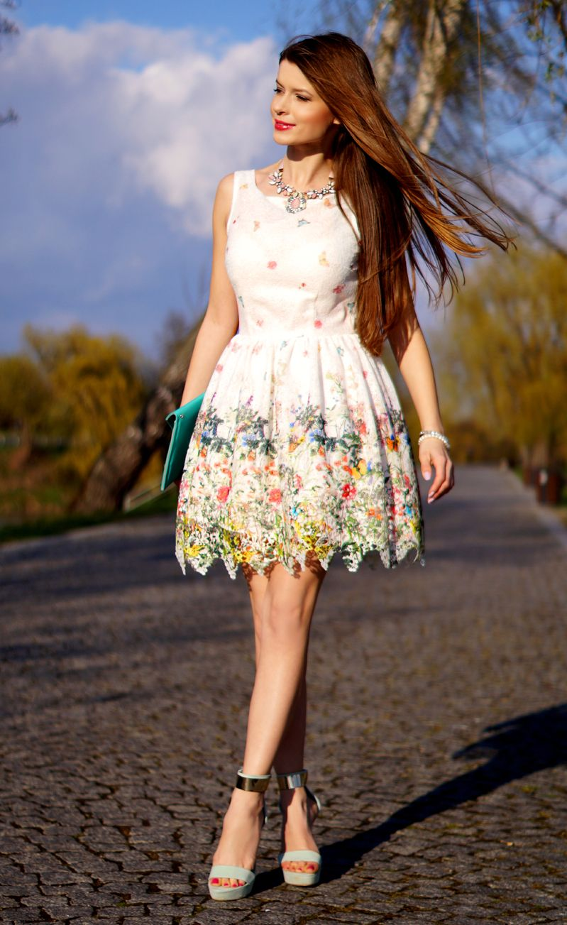 Tiulowa Sukienka W Kwiaty Fashion Summer Dresses Dresses