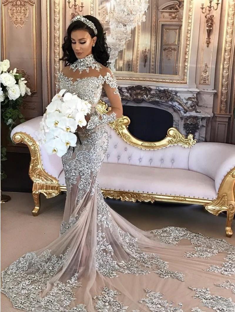 luxury brautkleider mit Ärmel meerjungfrau hochzeitskleider