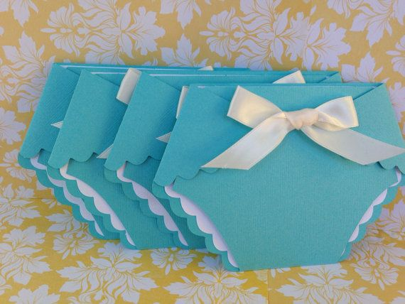 Diaper Tiffany Blue Baby Shower Diaper Invitation