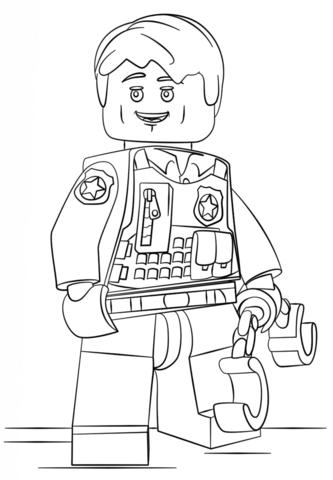 Lego Undercover Police Officer Coloring Page Lego Polizei Ausmalbilder Muster Malvorlagen