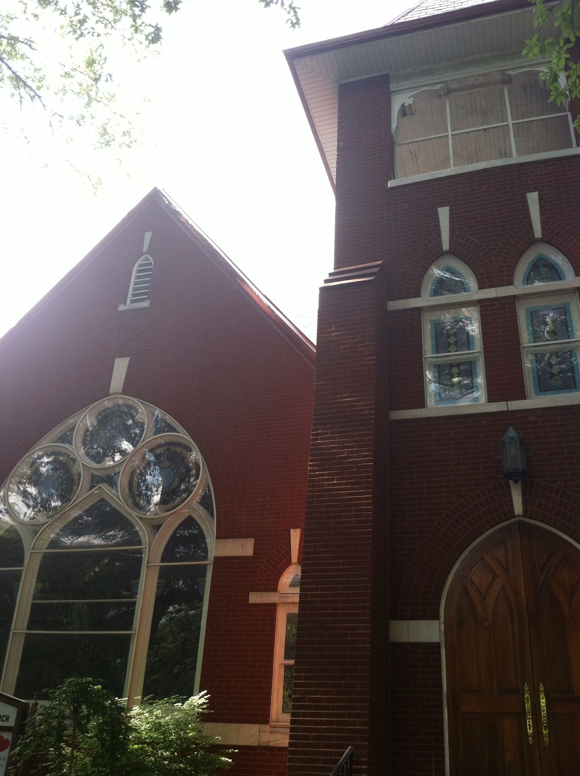 The front of the pretty church I found. I absolutely adore the windows.