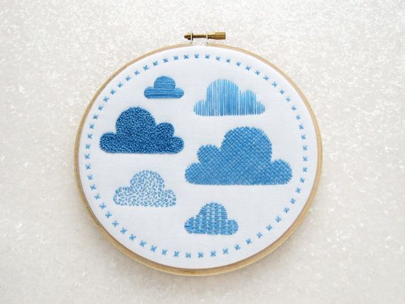 Clouds Sampler Hand Embroidery Kit. This fab kit contains everything you need (and more) to make this modern embroidery hoop art. The icing on the cake is that the design is pre-printed, in colour, onto the fabric so no need for tracing! ☆ SPECIAL OFFER – 20% OFF ORDERS OVER £60☆ Use coupon code 20OFF60 at checkout ☆ The Design: I have a thing about clouds, I have no idea why or where it come from, I just love them. I also love embroidery samplers; lots of different types of stitches ...