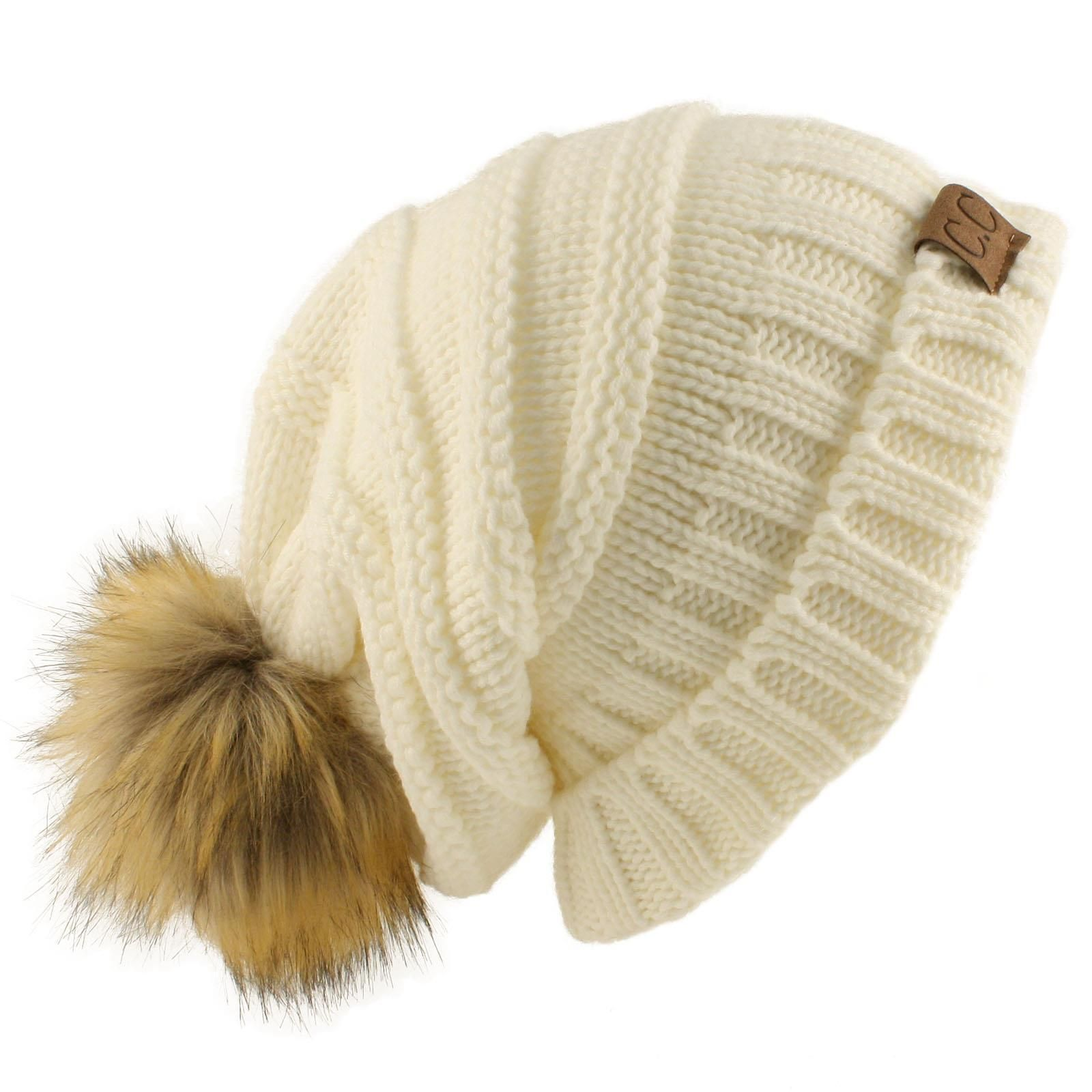 846c572297f Oversized Pom Pom Fur Chunky Thick Knit Slouch Beanie Skull Ski Hat Cap  Ivory