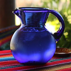 Handmade Cobalt Glass Pitcher (Mexico) - 9.5