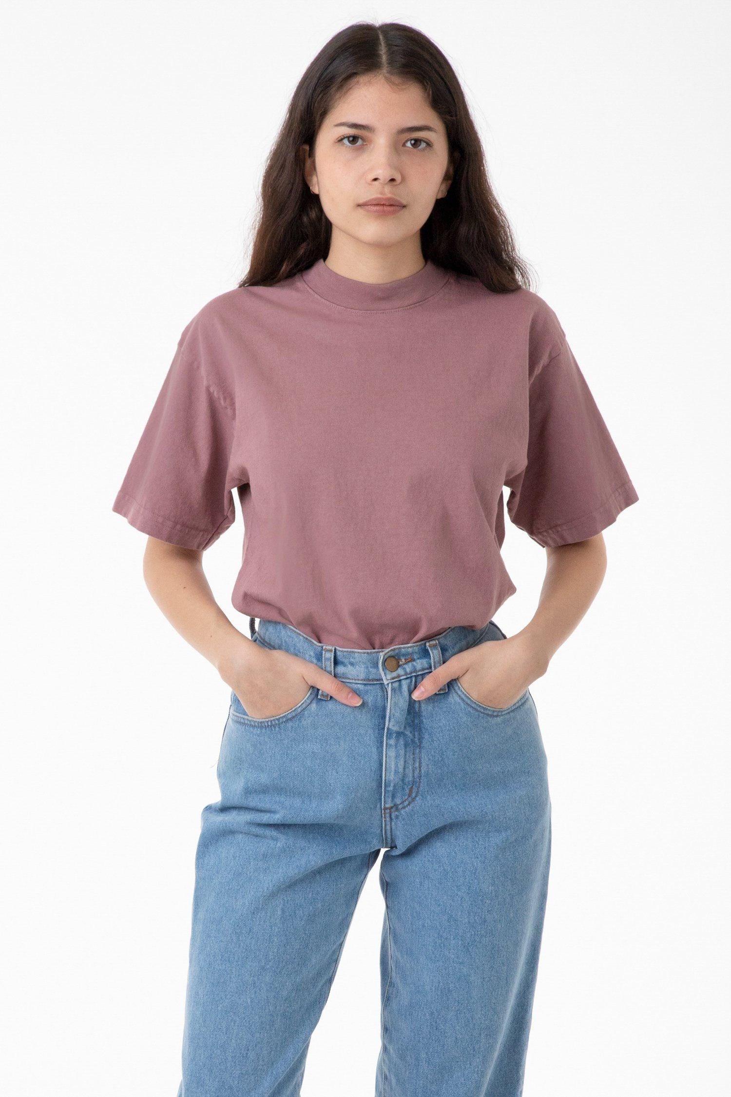 1405gd Unisex Short Sleeve Garment Dye Mockneck T Shirt Garment Dye Unisex Shorts Garment
