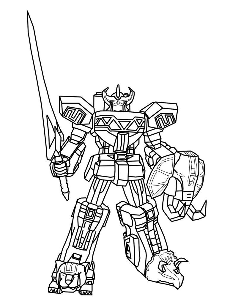 Dino Megazord Empty Power rangers coloring pages