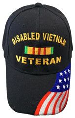 574d445a8aa Disabled Vietnam Veteran Baseball Cap Black Military Hat with American Flag