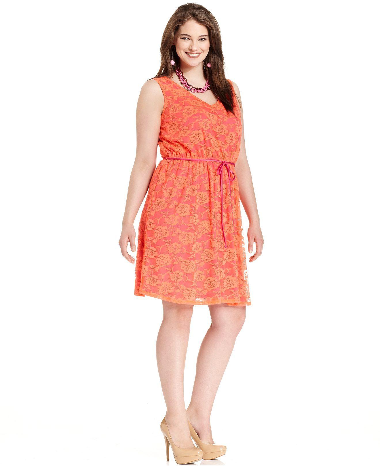 Lace dress macys  Love Squared Plus Size Dress Sleeveless Lace Belted  Plus Size