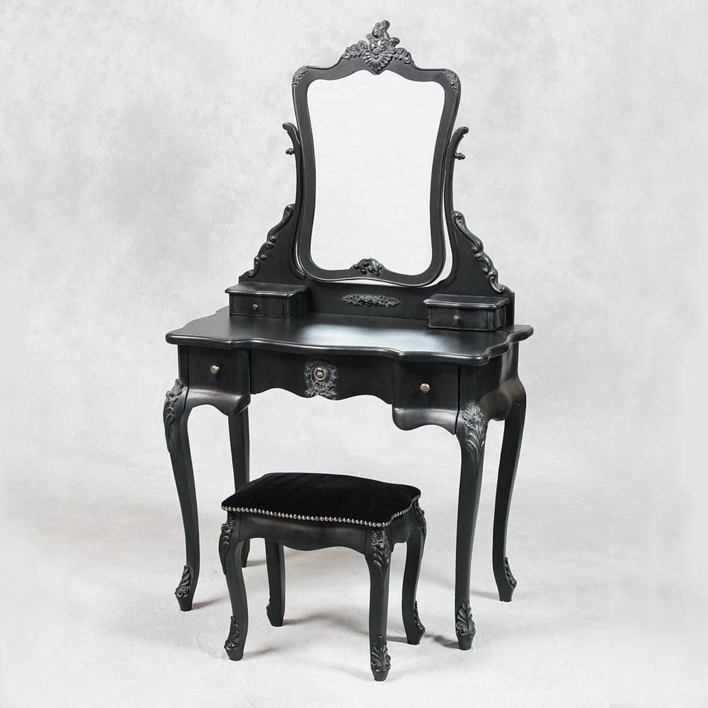 French Style Antique Black Dressing Table Mirror And Stool Set38