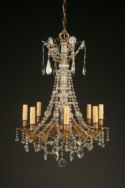 19th Century Antique French Bronze And Crystal Chandelier