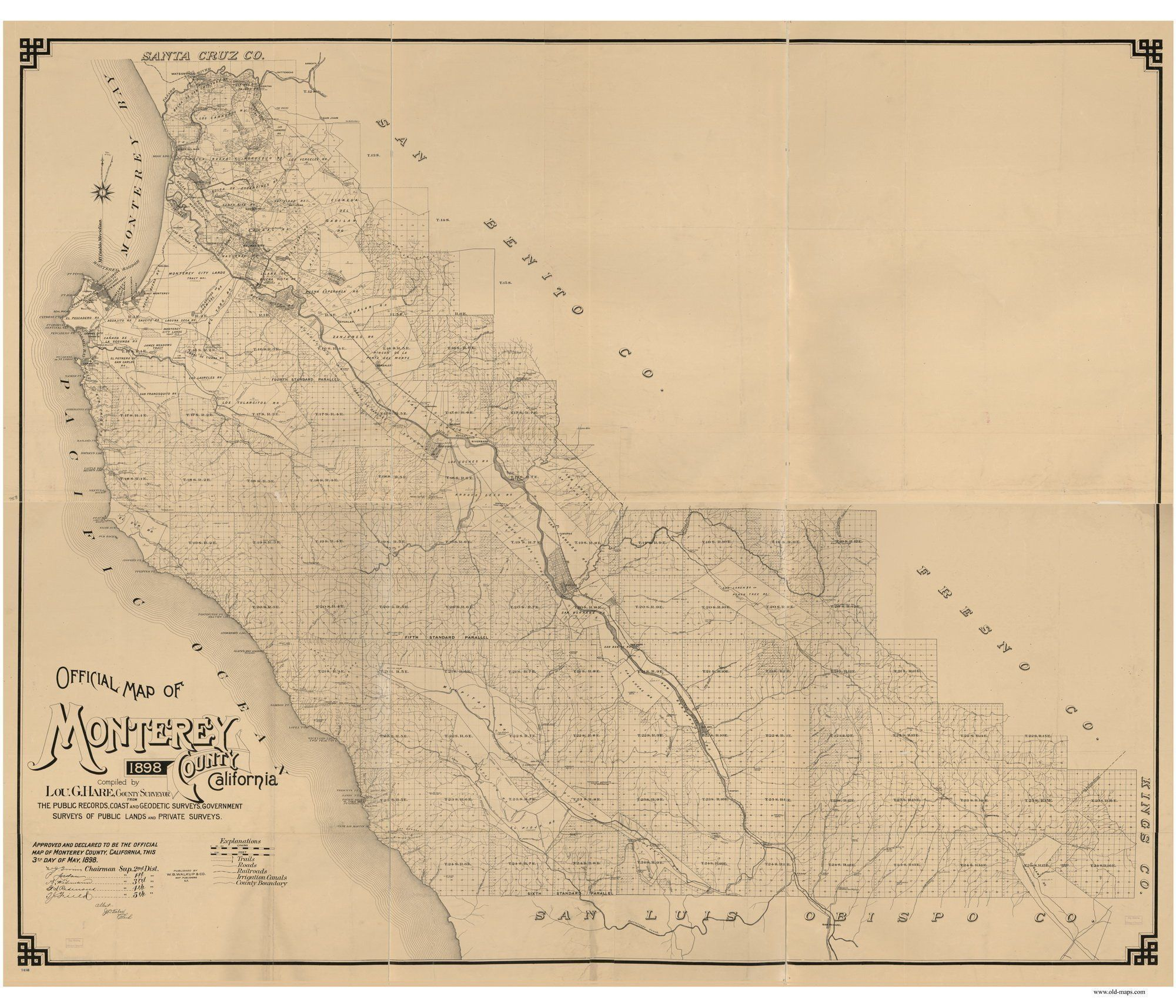 Monterey County California 1898 Wall Map Reprint with Farm Lines