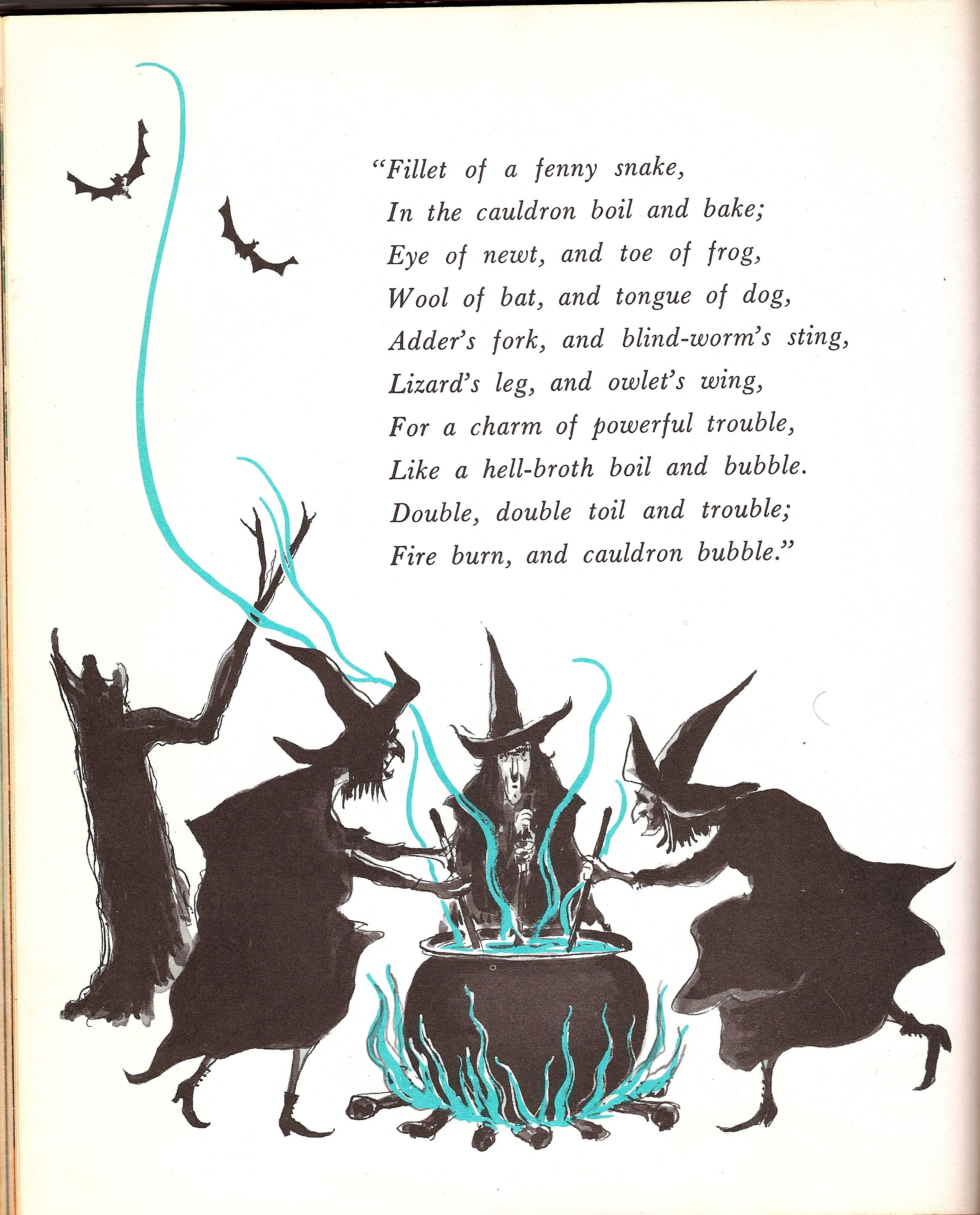 Shakespeare Halloween Quotes: Macbeth's Witches. Illustration From Vintage Halloween