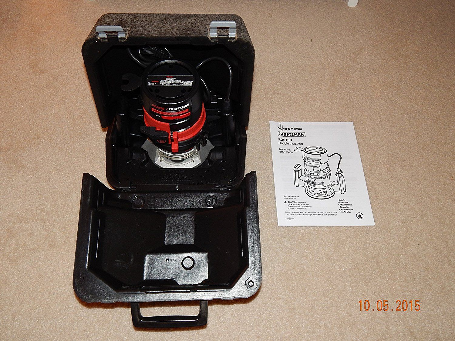 Craftsman Router Double Insulated 15 Hp 25000 Rpm Model 315175000 Wiring Diagram For Made In The Usa