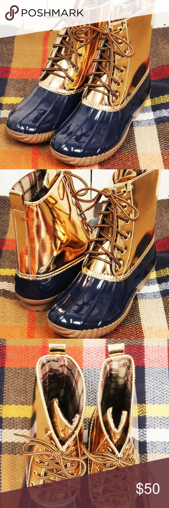 d57951b13022 Navy   Rose Gold Duck Boots (RUNS SMALL) When the weather is bad ...