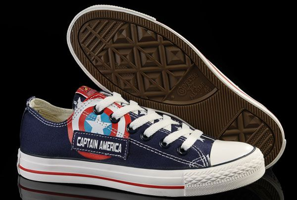 b3cea23a4b40 Limited Edition Blue Captain America Converse Low Tops Canvas Shoes ...