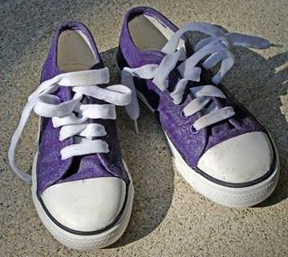 painted, glittered canvas shoes