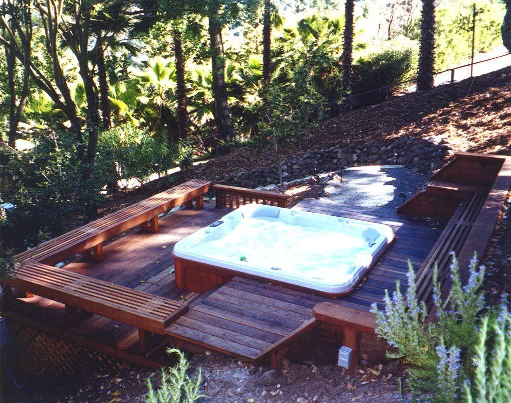 Hillside Deck Spa Hot Tub Landscaping Hot Tub Backyard Hot Tub Deck