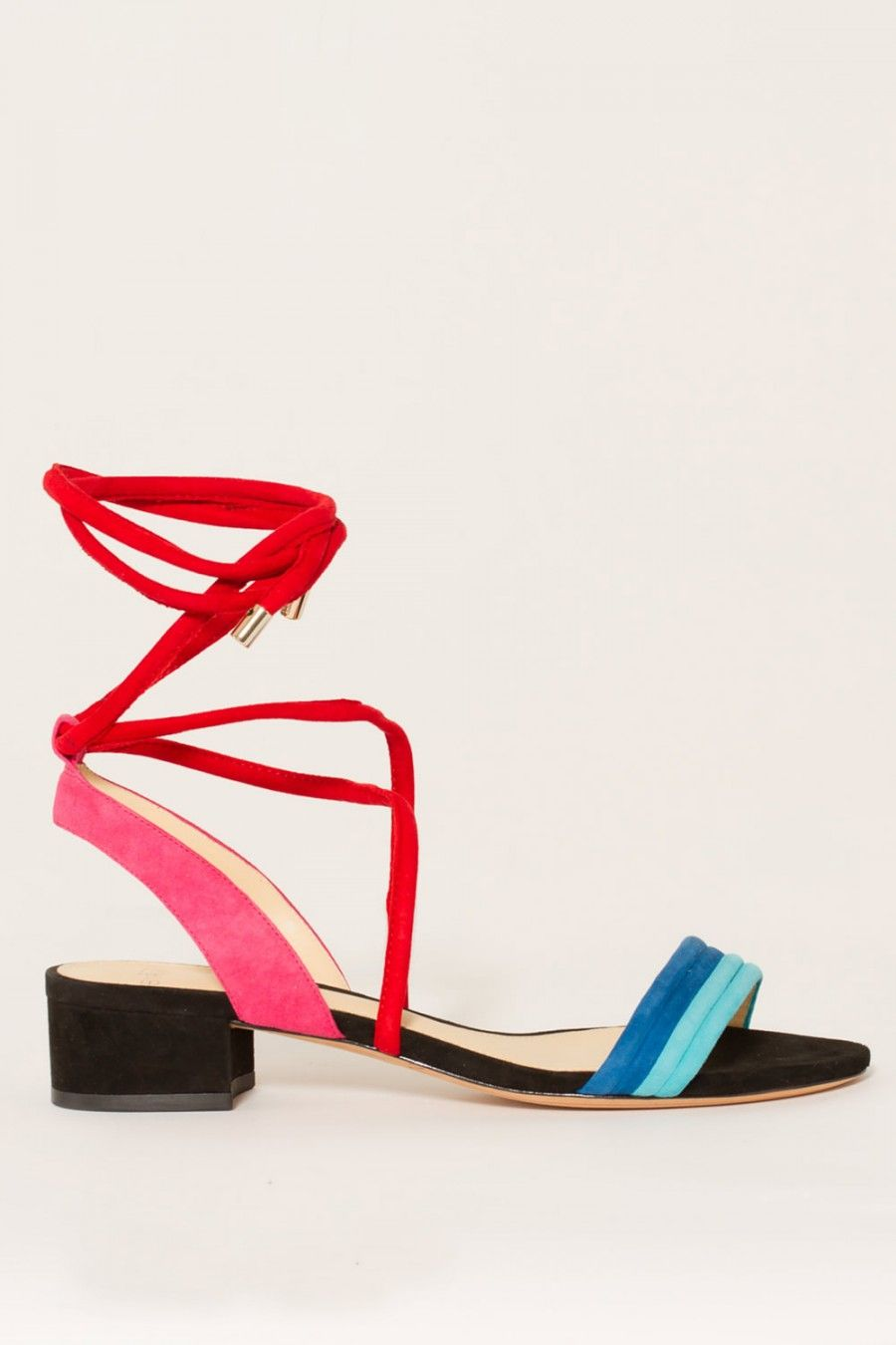 ALEXANDRE BIRMAN Aurora Colorblock Suede Lace-Up Sandals. #alexandrebirman # shoes #flats